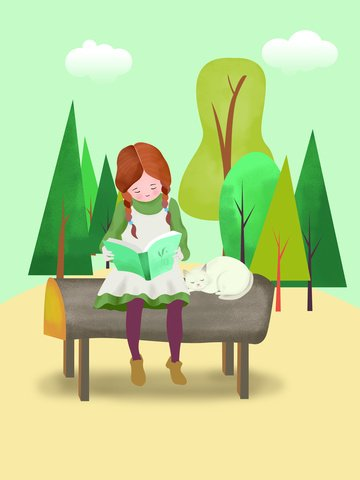 Original illustration girl reading book illustration image