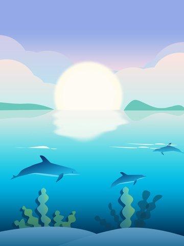 Original gradient illustration ocean healing system, Original, Illustration, Gradient illustration image