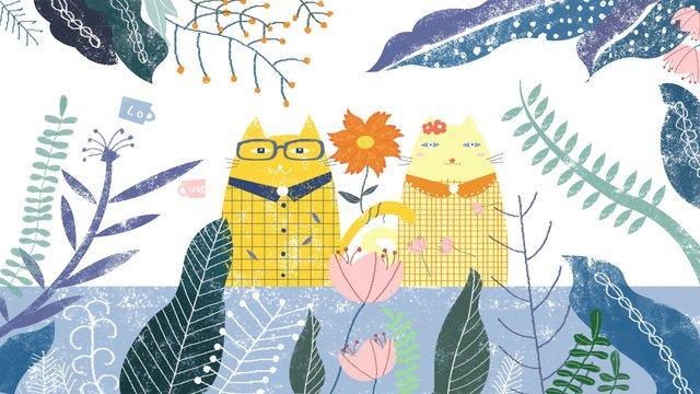 minh họa gốc xanh valentine lãng mạn tình yêu màu lá cây lễ hội mèo Hình minh họa Hình minh họa
