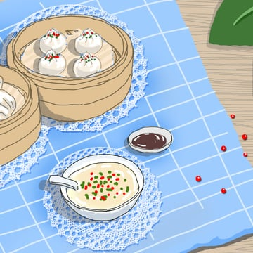 Original hand-painted illustration chinese breakfast xiaolongbao rice porridge, Original, Illustration, Hand Painted illustration image