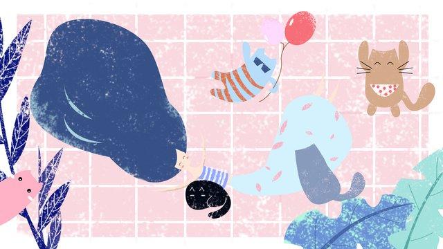 原創插畫女孩貓生活日常創意裝飾手繪植物夏原創  插畫  手繪PNG和PSD圖片素材 illustration image