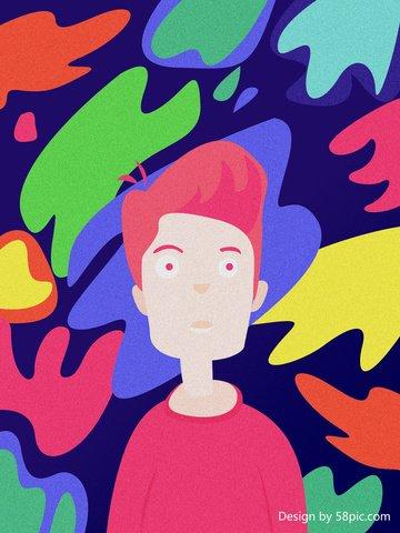 मूल चित्रण रंग सपाट हवा लड़का चित्रण छवि चित्रण छवि
