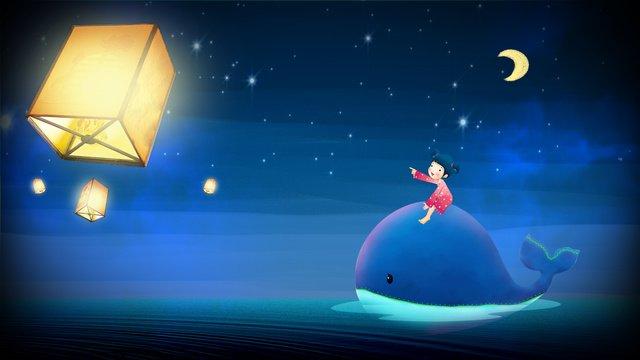 Beautiful dream whale girl kong mingguang night original illustration, Original Illustration, Illustration, Dreamland illustration image