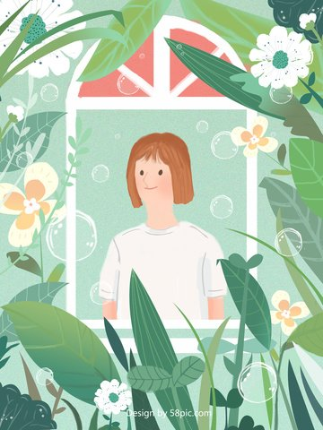 original illustration hand drawn girl with spring llustration image illustration image