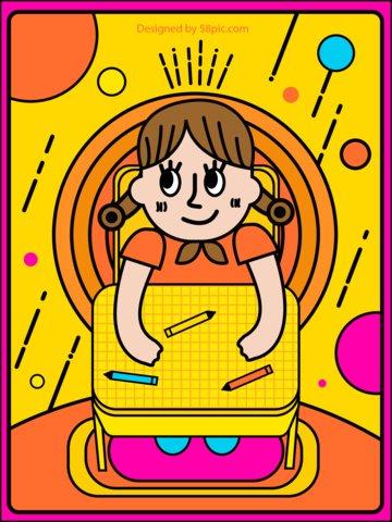 オリジナルイラストins風太い線の女の子 イラストレーション画像