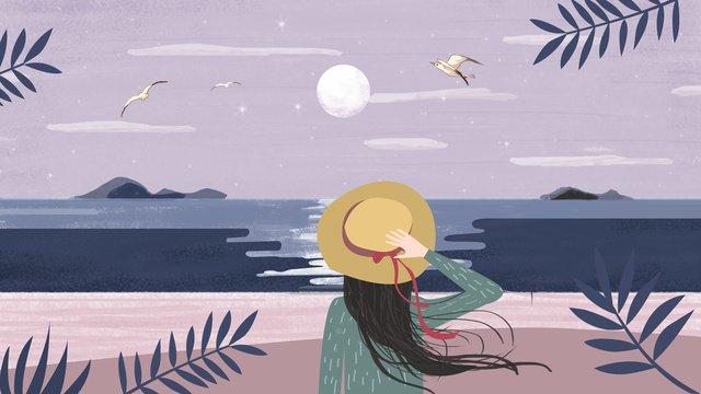 원래 그림 바다 달빛 야경 삽화 소재
