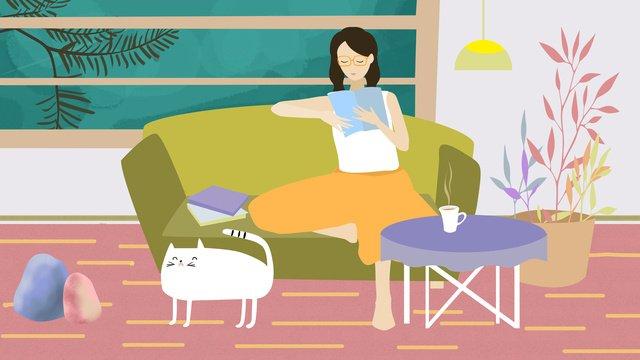 Original illustration home reading girl llustration image