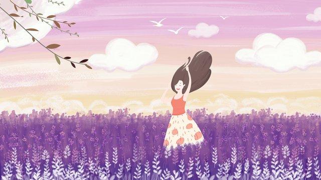 元のイラストロマンチックな紫色の花海の少女 イラスト素材