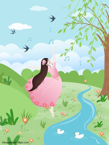original cartoon spring blossoms beautiful girl dancing poster design illustration image