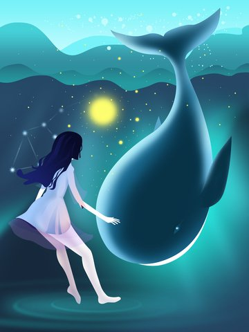 Original illustration whale girl dreamy starry ocean, Original Illustration, Starry Sky, Teenage Girl illustration image