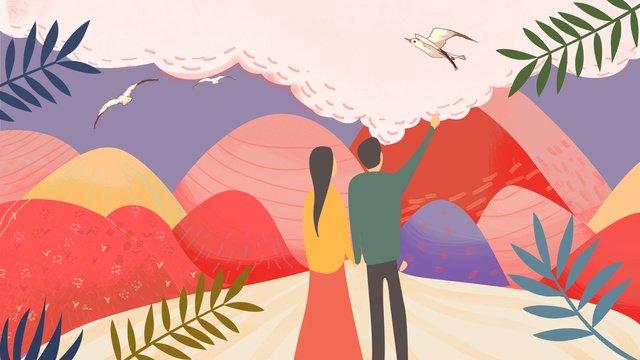 オリジナルイラスト七夕カップルロマンチックなピンクの風景 イラスト素材