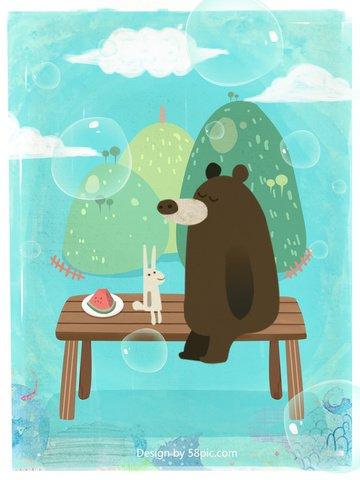 भालू और खरगोश के मूल चित्र आपको इस गर्मी में मिलते हैं चित्रण छवि