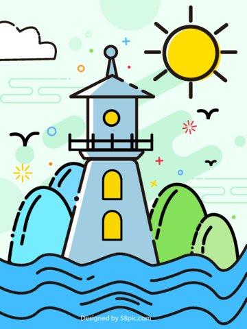 원래 그림 meb 스타일 바다보기 풍경 삽화 소재 삽화 이미지