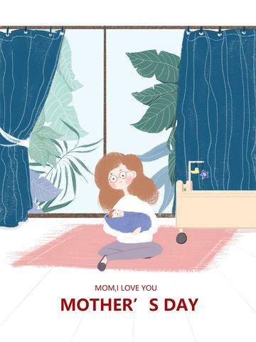 オリジナル母の日の爽やかポスター風イラスト イラストレーション画像