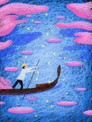 Original illustration boating coil painting, Original, Rafting, Boating illustration image