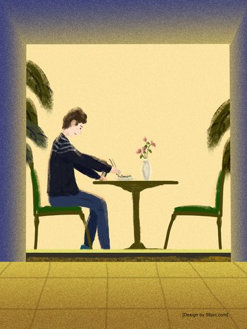 Original single life one person eating illustration, Original, Single Life, A Person illustration image