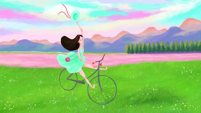 original outdoor illustration outing girl riding llustration image illustration image