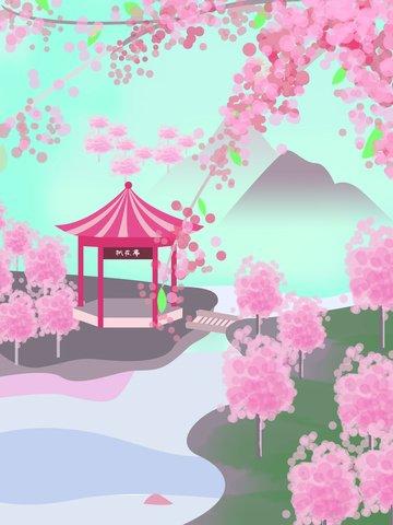 मूल चित्रण पीच ब्लॉसम सीजन सुंदर रोमांटिक चेरी जापान फ्लावर टूर चित्रण छवि