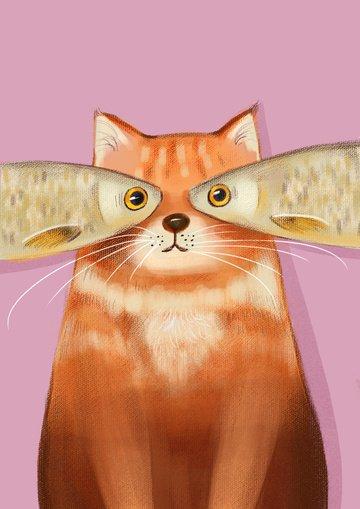 Мультяшный милый животных домашний кот с рыбой творческой рисованной свежие иллюстрации Ресурсы иллюстрации