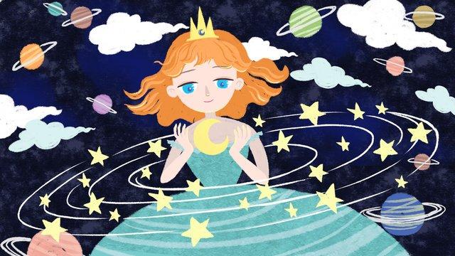 original hand painted starry sky girl series 2 llustration image illustration image