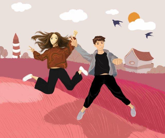 道路上にいるピンクの新鮮なカップルのイラスト イラスト素材 イラスト画像