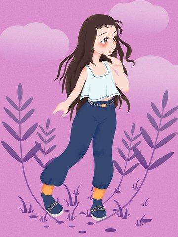 गुलाबी बैंगनी पृष्ठभूमि कार्टून प्यारा लड़की मूल चित्रण चित्रण छवि