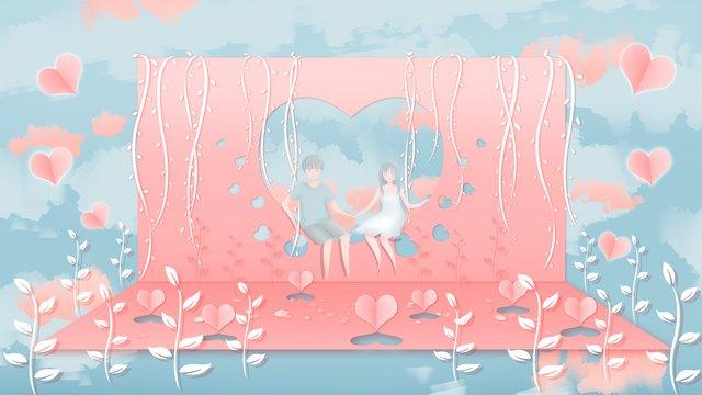 romântico tanabata rosa papel microscópico vento quente ilustração Material de ilustração Imagens de ilustração