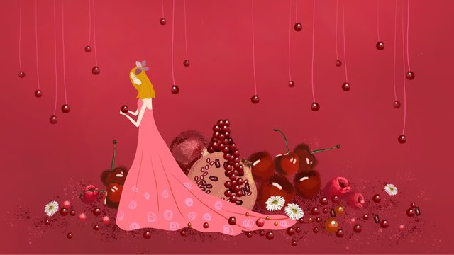 pomegranate girl gourmet fruit grape small daisies fresh illustration llustration image illustration image