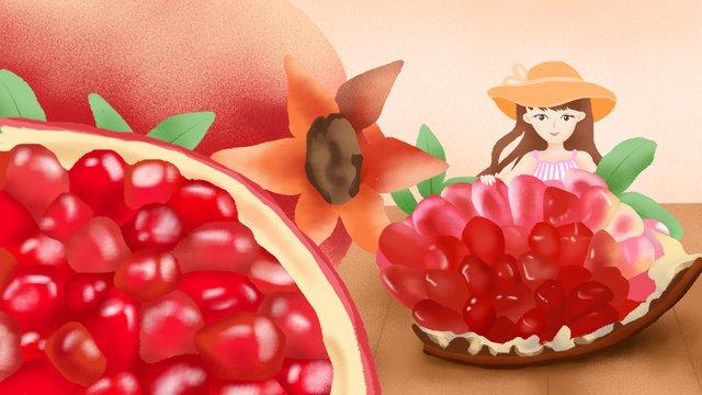 Original illustration fruit pomegranate girl home llustration image illustration image