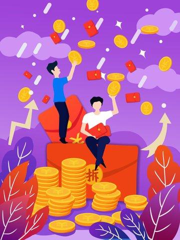 紫色の流体グラデーショングラブ赤い封筒ゴールドコインイラストレーション イラストレーション画像