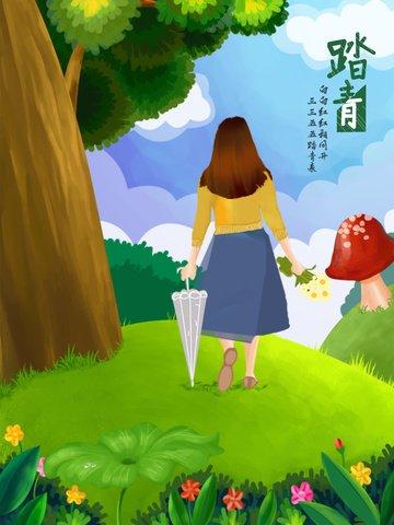 Step by illustration, Qingming, Step On, Spring Blossoms illustration image