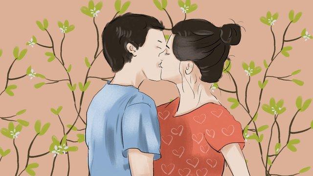 festival de qixi casal beijando ilustração Material de ilustração