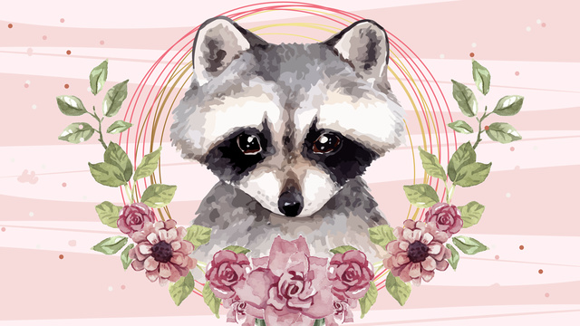 Original painting cute little raccoon, Raccoon, 鼬, Animal illustration image