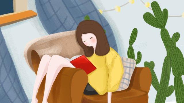 Girl reading original illustration llustration image