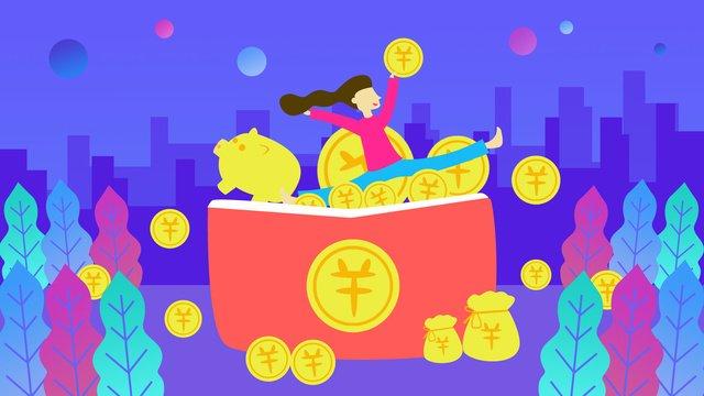 빨간 봉투 금융 금화 복지 유체 그라디언트 그림 삽화 소재 삽화 이미지