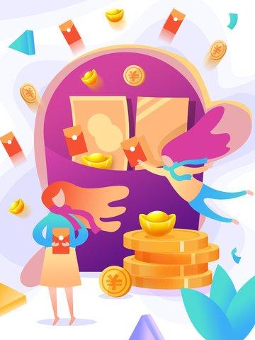 red envelope financial fluid gradient illustration llustration image