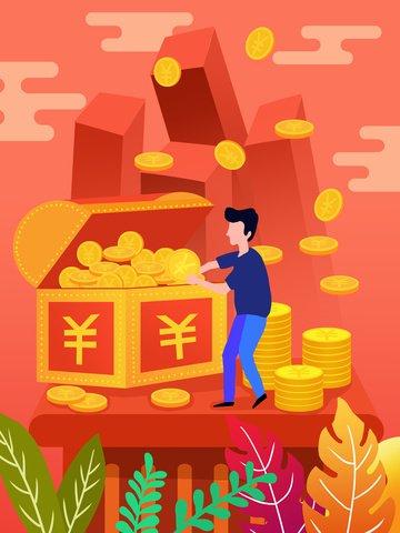 Красный жидкий градиент финансовый красный конверт грудь иллюстрация Ресурсы иллюстрации