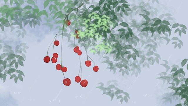 Red fruit fresh air illustration in the rain, Red Fruit, Green Leaf, Rainwater illustration image