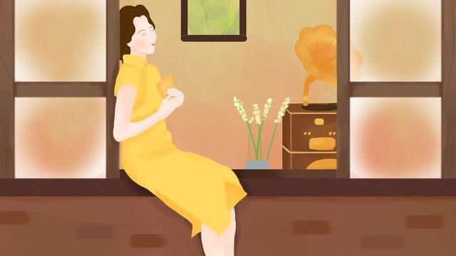Cheongsam woman sitting on the window sill reading a letter, Republic Of China, Cheongsam, Phonograph illustration image