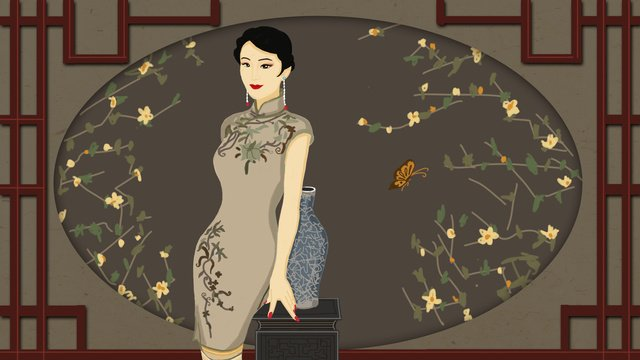 republic of china retro style cheongsam charm llustration image illustration image