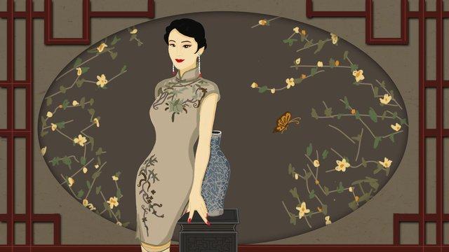 Republic of china retro style cheongsam charm, Republic Of China, Retro, Classical illustration image