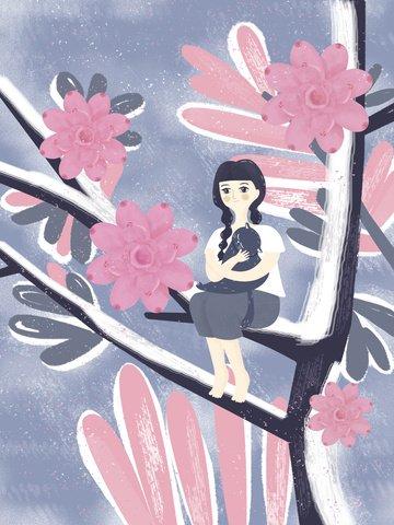 オリジナルのレトロな質感の女の子イラストポスター イラスト素材