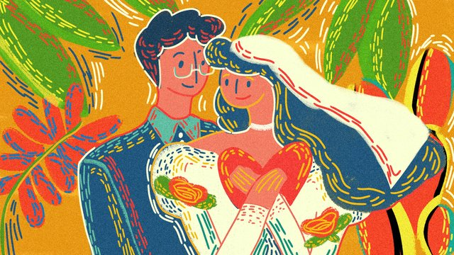 retro texture tanabata valentines day wedding original hand painted illustration llustration image