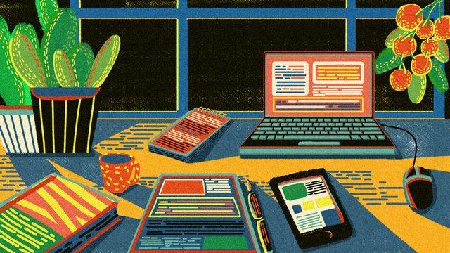 retro texture office scene plant electronics original illustration llustration image illustration image