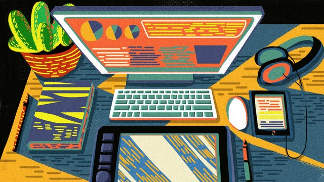 レトロな質感のオフィスシーンコンピューター電子機器オリジナルイラスト イラスト素材