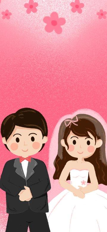 ピンクの花のロマンチックな美しい結婚式のシーンの図 イラスト素材