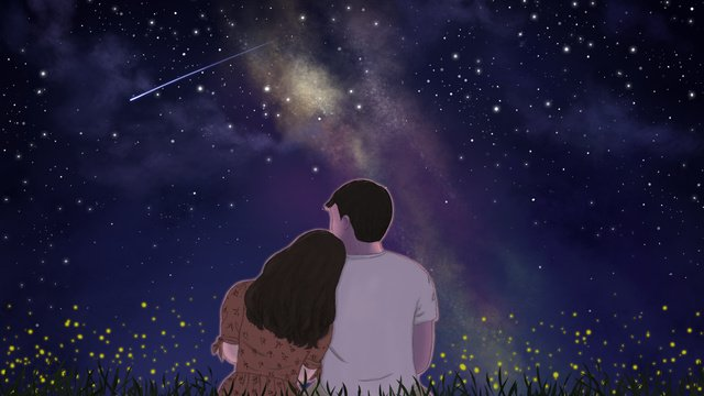 romantic chinese valentines day couple starry original illustration llustration image illustration image
