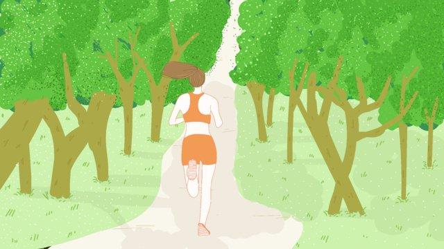 公園跑步的女孩 插畫素材 插畫圖片