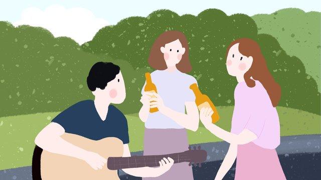 여름 현장 야외 파티 마시는 소녀 작은 신선한 손으로 그려진 된 그림 삽화 소재