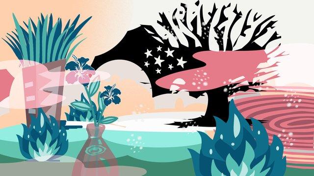 판타지 세계 백합 시리즈 여름 장면 그림 삽화 소재